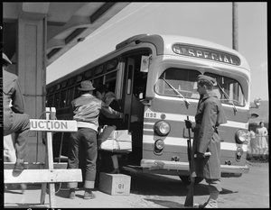 San Bruno, California. A Greyhound bus bringing evacuees to the assembly center.