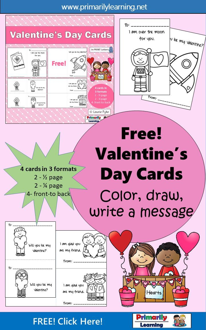 #FREE! #preschool, #kindergarten and #gradeone children will enjoy printing friend's names, and drawing and/or writing messages as they create these #ValentinesDay Cards. Language & #vocabulary: A great #writingcenter activity!