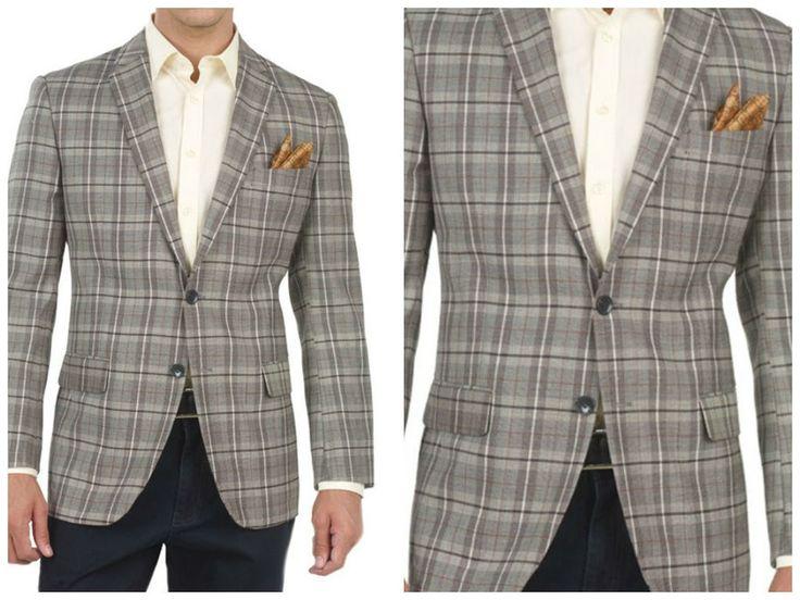 Details about 100% Wool Blazer for Men Checkered Black/white Slim ...