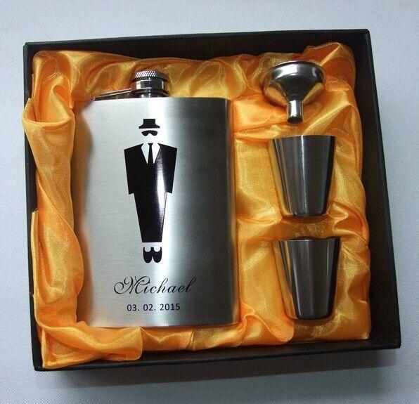 8Oz Wedding Hip Flask Gift Set Personalised Bomboniere Glass Favor -Personalised