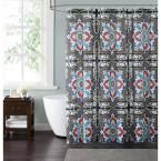 Sheffield 72 in. Taupe, Blue and Red Shower Curtain, Taupe And Blue And Red