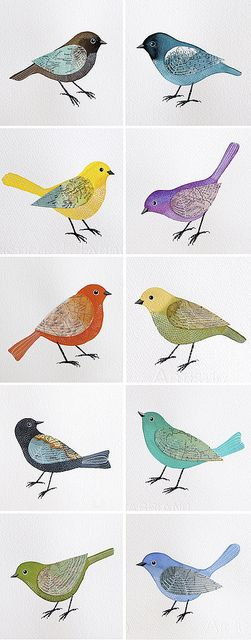 i'd love something like this for my house -- Geninne D Zlatkis.. Watercolour birds