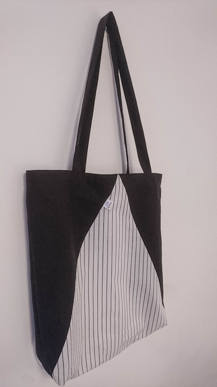 Fabric Tote - Black & White Triangel Color Block