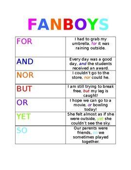 fanboys conjunctions toocool4school fanboys