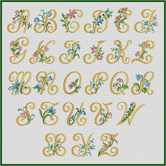 Summer Alphabet Monogram Cross Stitch Pattern Flowers Abc Cross