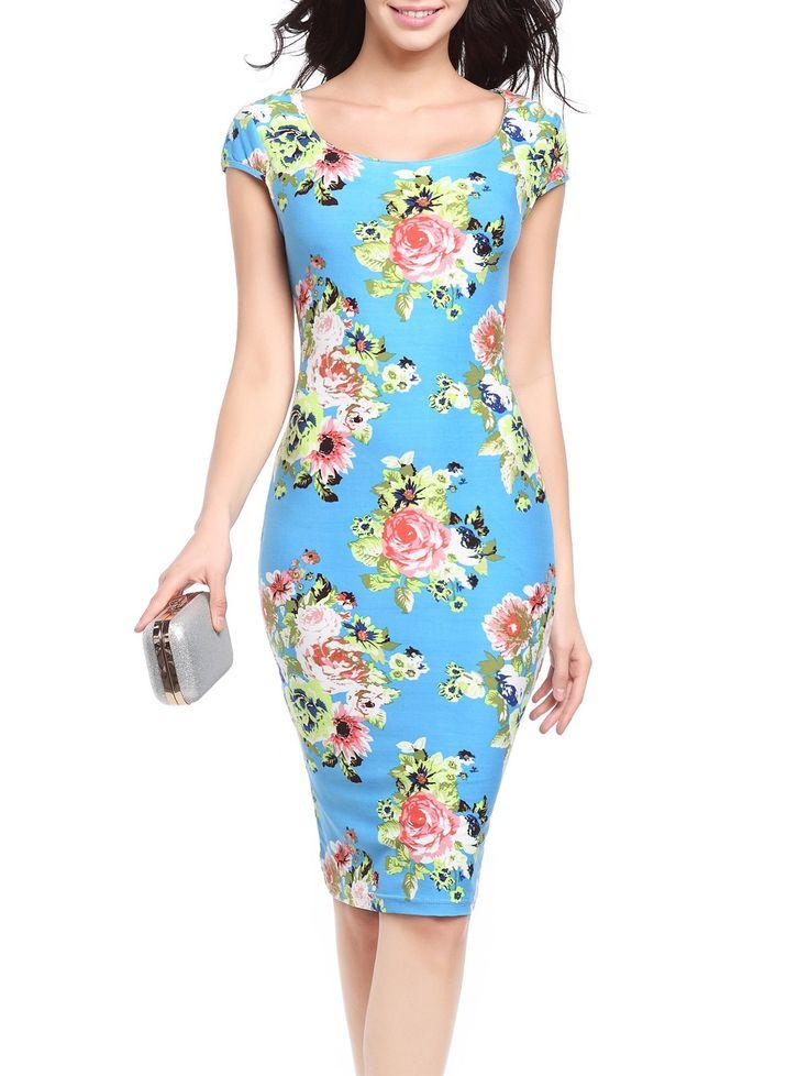 Short Sleeve Flower Pattern Bodycon Dress #jewelry, #women, #men, #hats, #watches