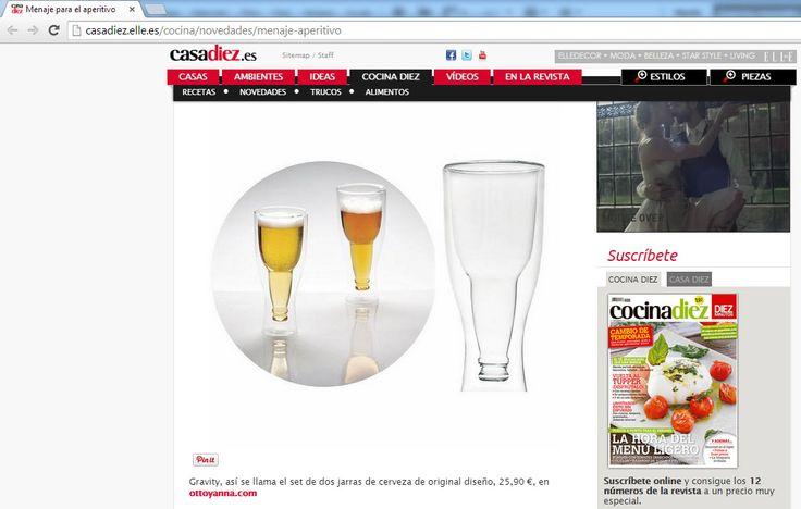 CASADIEZ.ELLE.ES - Set de 2 jarras de cerveza Gravity en Ottoyanna - Septiembre 2014. http://www.ottoyanna.com/buscar?orderby=position&orderway=desc&search_query=set%20gravity #jarra #cerveza #casaDiez