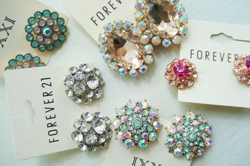 Rhinestone Earring Magnets - We just removed the earring backings and used jewelry glue to adhere some heavy strength magnets to the back of the earrings.