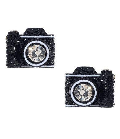 Available at Dillards.com #DillardsJohnson Cameras, Cameras Earrings, Stud Earrings, Cameras Studs, Dillards Com, Studs Earrings, Jewelry, Betsey Johnson, Products
