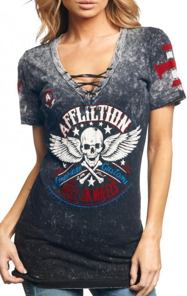Women's #Fashion Clothing: Blouses, Tops, #Tees, and Shirts: Affliction Women's Heroic Reversible #Top: Clothes