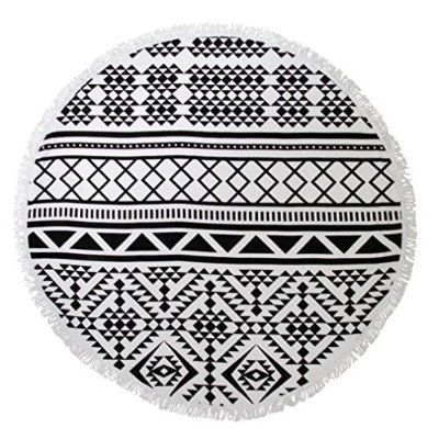EJY Sommer Bohemian-Stil Große Runde Mit Fransen Strandtücher,Geometrische Muster Wandbehang, Tischdecke,Yoga-Matte