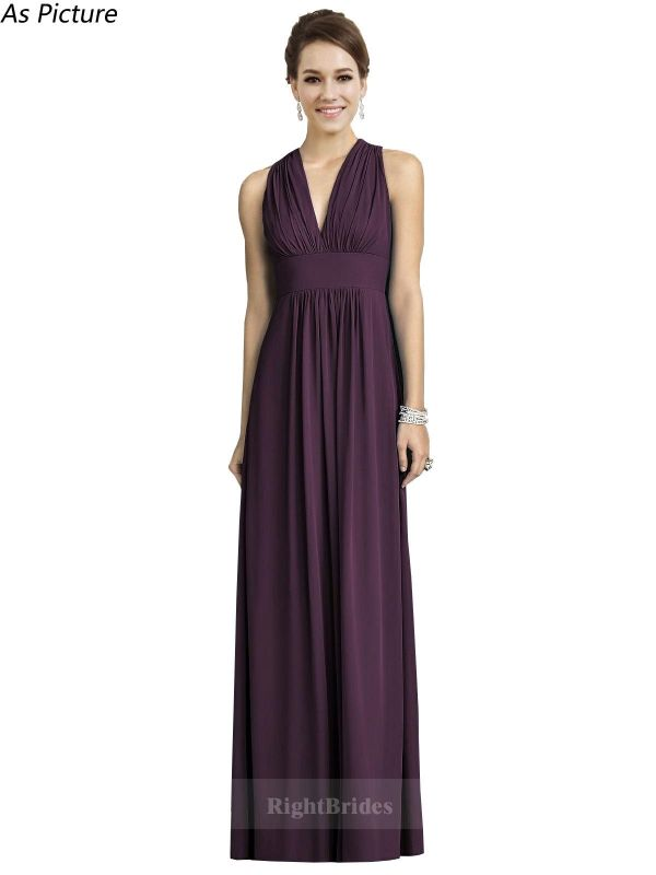 Best 2018 V-Neck Long Chiffon Grape Sleeveless Bridesmaid Dresses Canada 171135,…