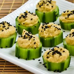 Recipe for Hummus and Cucumber Appetizer Bites with Sesame Seeds [from Kalyn's Kitchen]