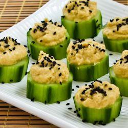 Hummus & Cucumber (or zucchini) appetizer bites.