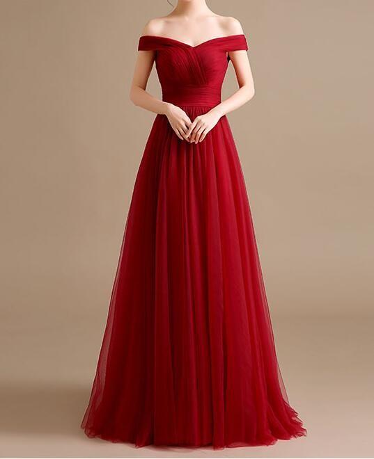 Off Shoulder A-line Floor Length Prom Dress wtih Lace Up Back