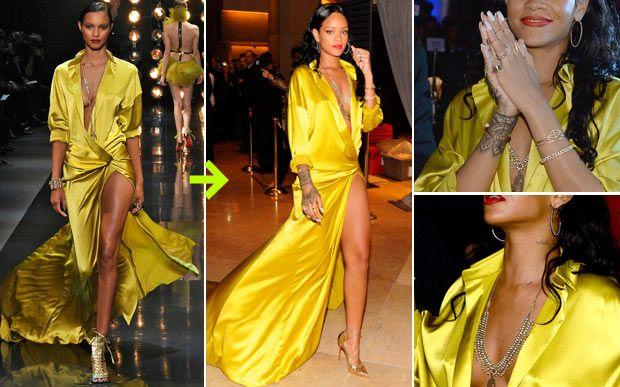 O vestido supersousado, do desfile de alta costura de Alexandre Vauthier, foi usado por Rihanna numa festa pré-Grammy. Se na passarela o look já tinha vários acessórios, a cantora pesou um pouquinho mais colocando colares, anéis e pulseiras. Jeito Riri de ser, certo?