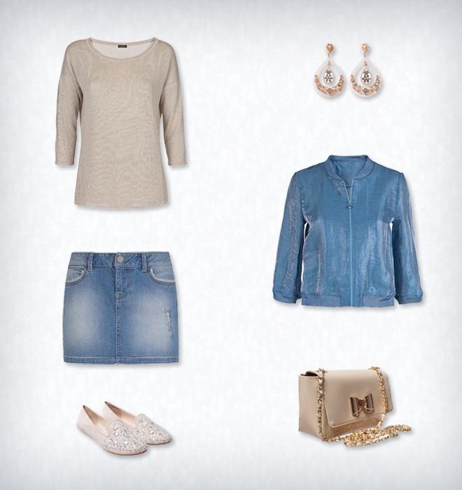 """Стиль """"Gold"""". Синяя цветовая гамма классических джинсов отлично сочетается с цветом золота. Блузон из блестящего льна c рукавом в ¾, джинсовая мини-юбка с заклепками и отделкой кружевом, кофта """"Basic"""" с люрексом - замечательный ансамбль для тех, кто проводит вне дома большую часть своего времени. Супер-стильная деталь - каплевидные серьги под золото, расшитые стразами тапочки и лакированная сумка через плечо c металлическим бантиком. #Motivi #gold #summer"""