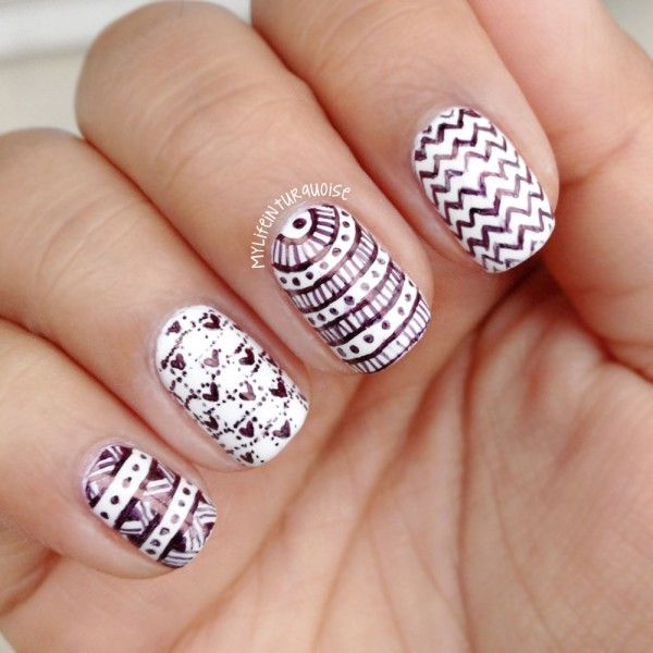 The 25 best nail art pen ideas on pinterest nail art instagram gorgeous black patterns with nail art pen on white nail art design idea with stripes and prinsesfo Choice Image