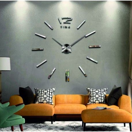 GB Mirror Wall Clock. Modern 3d clock on the wall. Decorations, wall stickers as an image.