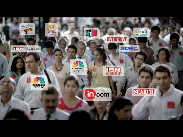 From in.com, VH1, ibnlive.com, IBN Lokmat, Indiacast, burrp.com, Colors, there's no media offering that Network18 does not reach you.: Color