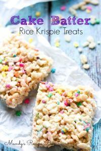 Cake Batter Rice Krispie Treats on MyRecipeMagic.com So Delicious!!
