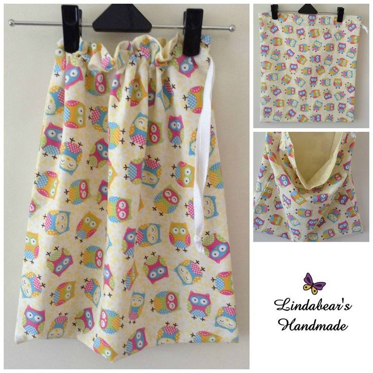 Made by Lindabears Handmade  Yellow Scattered Owls Drawstring Library book Bag