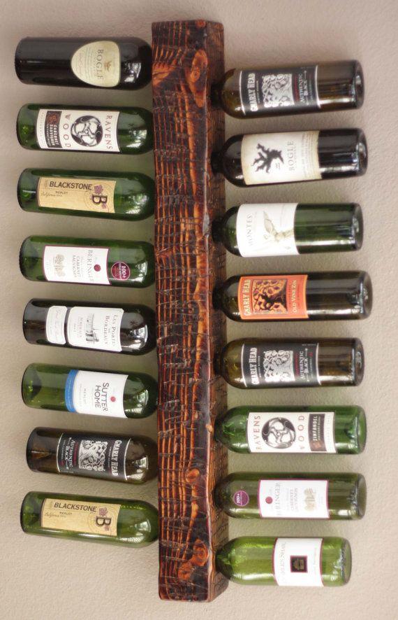 wall mounted wine rack 16bottle vertical wine display wood rustic wine rack