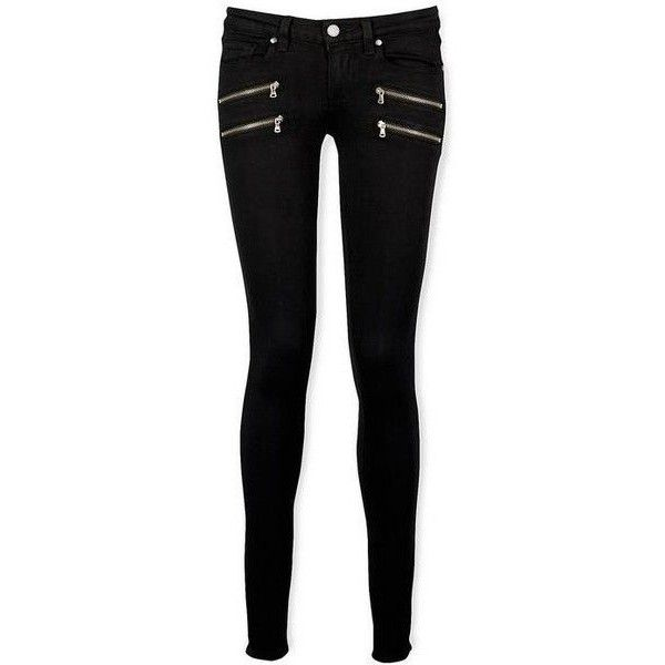 Paige Black Shadow Edgemont Skinny Jeans (£290) ❤ liked on Polyvore featuring jeans, pants, bottoms, trousers, skinny fit denim jeans, denim skinny jeans, mid rise skinny jeans, skinny jeans and mid rise jeans