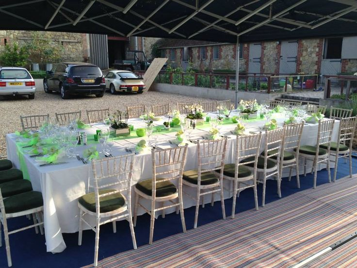 Chiavari limewash with green seat pads The Kent Event Hire Company 01580 212718 www.tkeh.co.uk