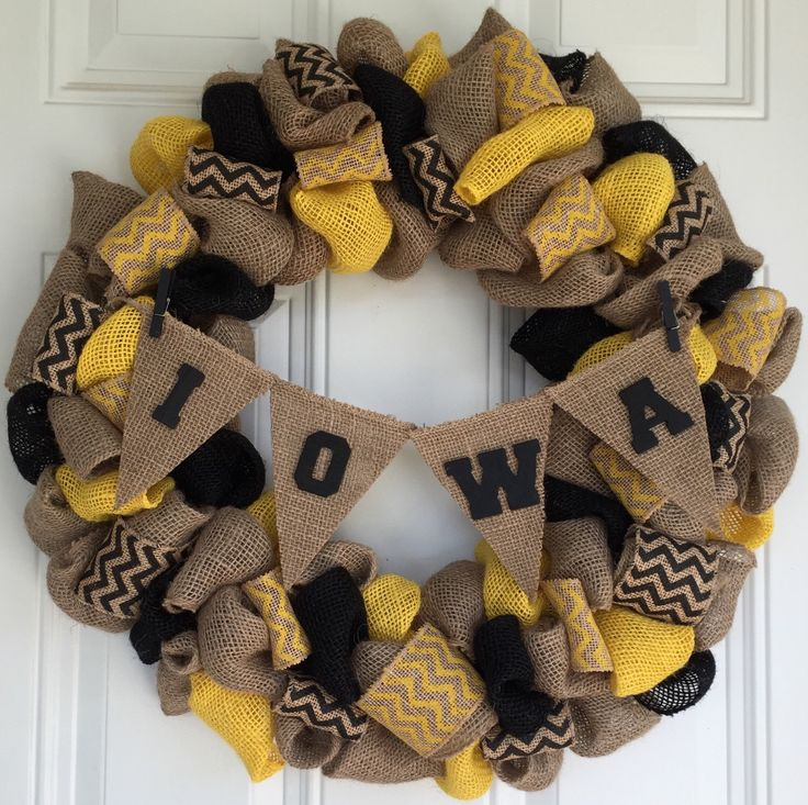 Sports Wreath, Burlap Wreath,  Iowa University, Iowa Hawkeyes, Chevron, Sports Fan by LetMeCraft4U on Etsy https://www.etsy.com/listing/252079265/sports-wreath-burlap-wreath-iowa