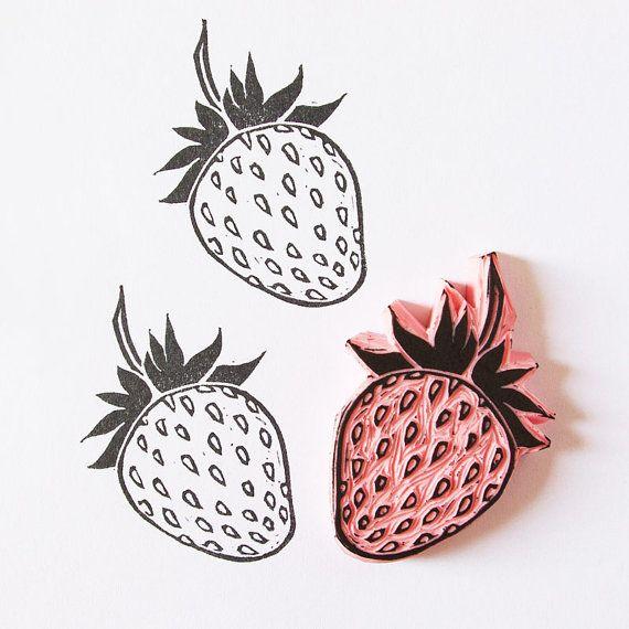 Strawberry rubber stamp  hand carved fruit stamp por CassaStamps, $13.00