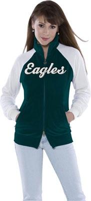 Philadelphia Eagles Women's Full Zip Velour Cheer Jacket - Touch by Alyssa Milano