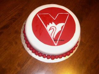 Welcome to Mel's Cakes: AFL ( Sydney Swans ) Birthday Cake