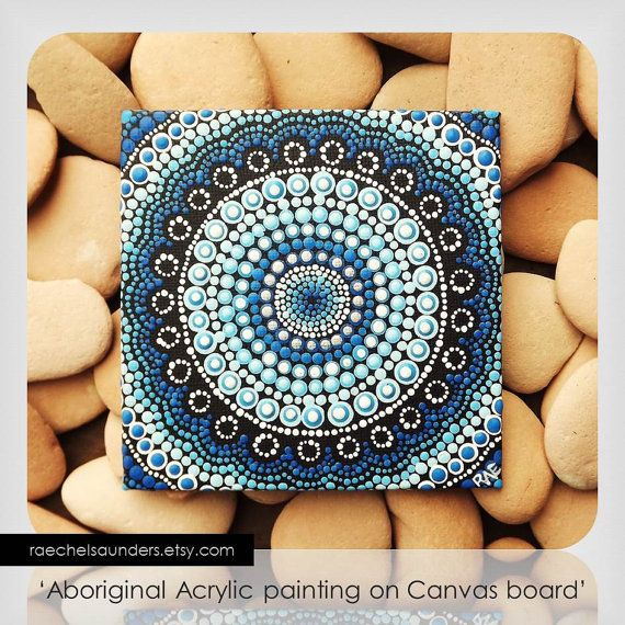 Aboriginal Art Acrylic paint dot design on by RaechelSaunders, $20.00