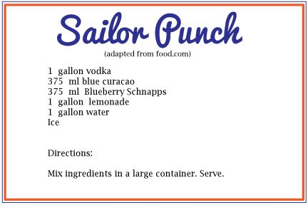 Sailor Punch recipe - perfect for any nautical themed party! (recipe adapted from food.com) #drinkrecipe #punch
