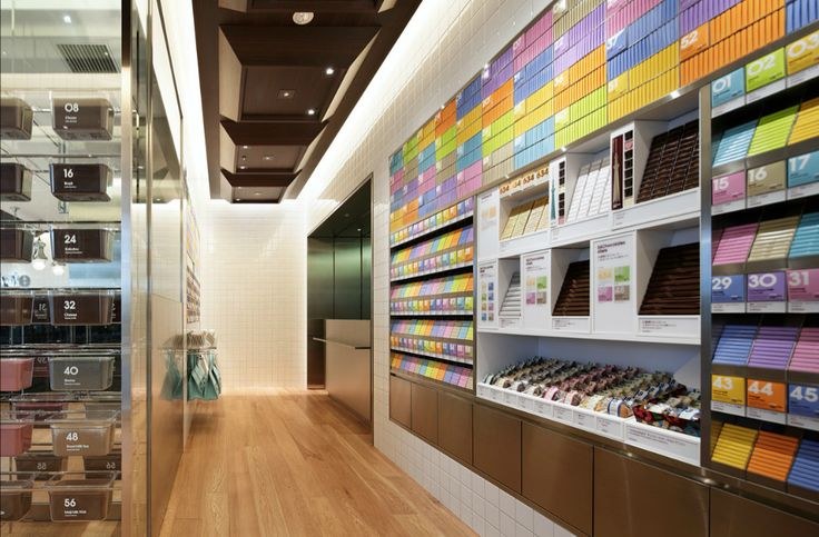 """100% Chocolate Café in the Solamachi (""""sky town""""), retail complex in Tokyo, Japan by Wonderwall"""
