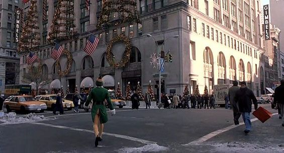 Elf Film Locations - On the set of New York.com As you can see the Gimbel store does not exist and in fact the top part of this building on the corner of 5th Avenue and East 30th Street was computer generated to look like the original Gimbel department store. This is not uncmomon in the world of films as the apartment building roofs in Ghostbusters and The Devil's Advocate were also given the CGI treatment.