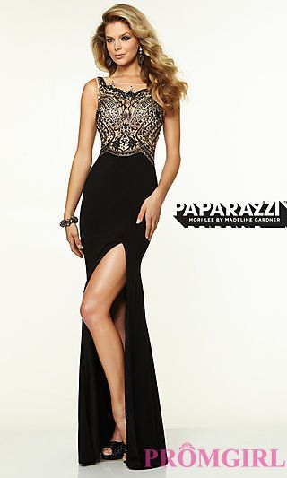 Long Mori Lee Prom Dress with Side Slit at PromGirl.com