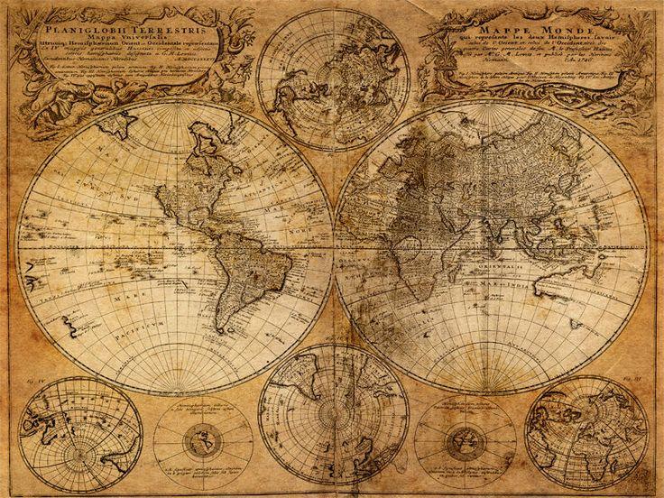 Poster Weltkarte 02 Alt Seekarte Welt Sepia Navigation Kompass Karte A2
