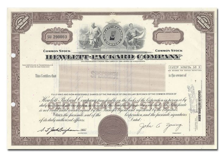 161 best Scripophily \/ FAMOUS NAMES \/ Stock and Bonds \/ azpartner1 - example of share certificate