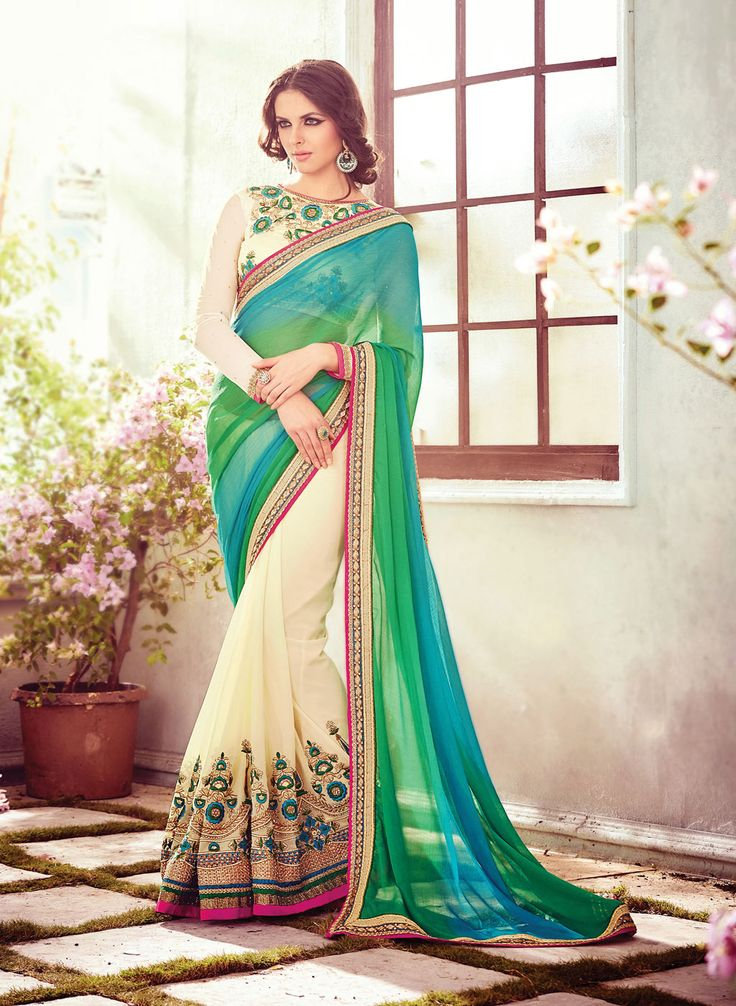 Green Chiffon Wedding Saree 66862