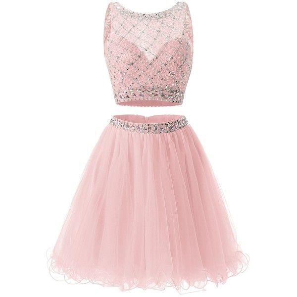Bridesmay Short Tulle Homecoming Dress Beaded Two Piece Bridesmaid... ($27) ❤ liked on Polyvore featuring dresses, two-piece cocktail dresses, pink cocktail dress, two piece homecoming dresses, homecoming dresses and beaded bridesmaid dresses