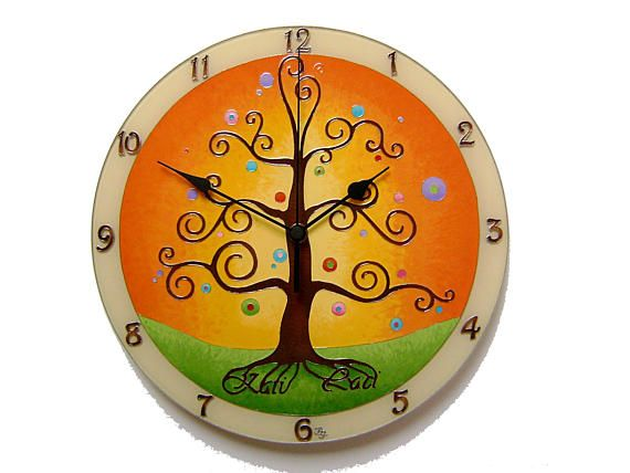 Tree of Life Large, Silent Wall Clock,  Personalized Wedding Gift, Hand Painted Glass Clock, Personal Inscription