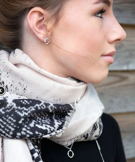 Style Snob super long scarf with animal print pattern in black on soft pink wool from MITZI B