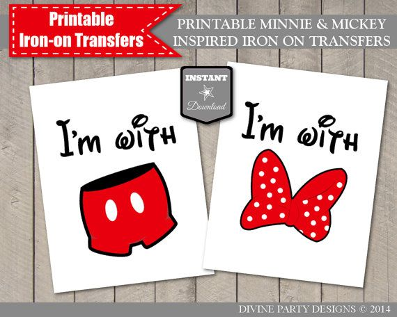 Instant download minnie and mickey inspired printable iron for Create your own iron on transfer for t shirt