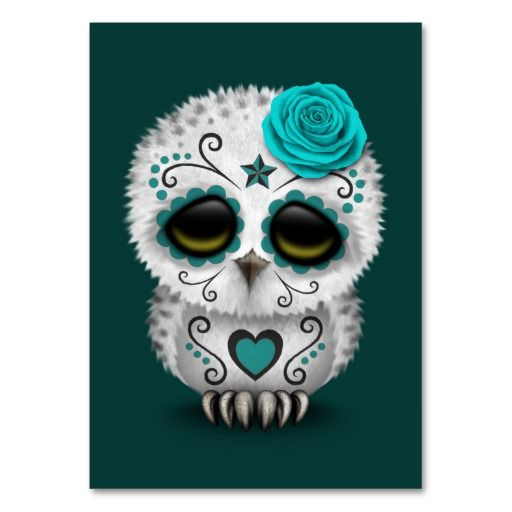 Cute Teal Day Of The Dead Sugar Skull Owl Business Cards
