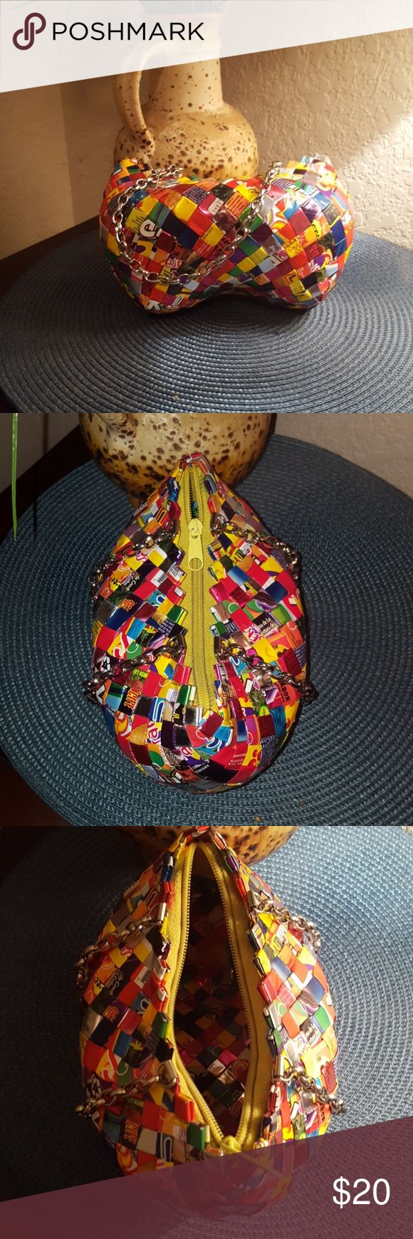One of a kind! Candy wrapper purse Handmade woven candy wrappers.  Slight wear on bottom as pictured.   Super cute and unique! Bags Mini Bags