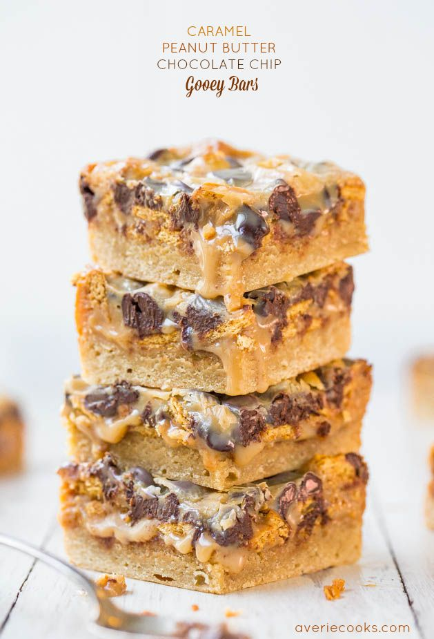 Caramel Peanut Butter Chocolate Chip Gooey Bars - Keep the napkins handy for these soft, gooey bars dripping with the best caramel-peanut butter sauce! So good!