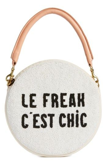Free shipping and returns on Clare V. Le Freak Beaded Circle Clutch at Nordstrom.com. Pre-order this style today! Add to Shopping Bag to view approximate ship date. You'll be charged only when your item ships.With a two-tone beaded front, Clare V. puts a playful French accent on this obsession-worthy leather clutch with a rolled handle providing chic contrast.