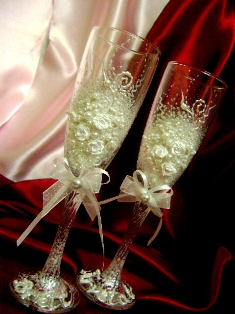 Hand decorated wedding champagne glasses toasting by PureBeautyArt, $49.00